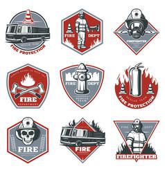 Vintage firefighting labels set vector