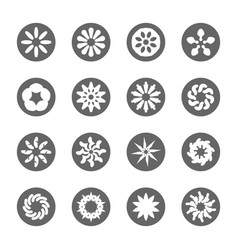 white flower flat icon set vector image vector image