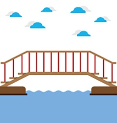 Wooden Bridge Over The River vector image vector image