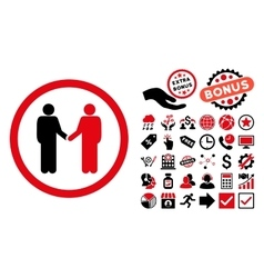 Persons agreement flat icon with bonus vector