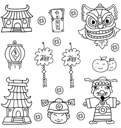 Art of chinese element doodles vector