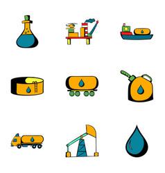 black gold icons set cartoon style vector image