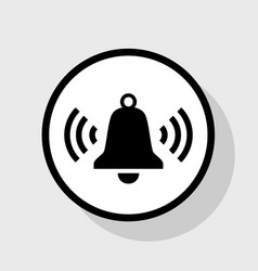 ringing bell icon  flat black icon in vector image