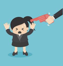 gun point to businessman head vector image