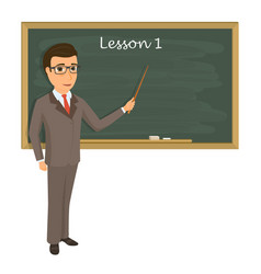 teacher on lesson in classroom young teacher with vector image