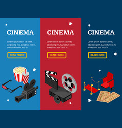 Cinema concept movie banner vecrtical set vector