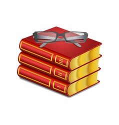 Red book with glasses vector