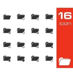 black folder icons set on white background vector image