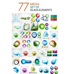 Mega set of glass abstract shapes design elements vector