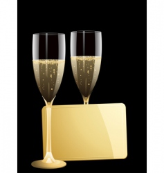 Champagne and gold message tag vector
