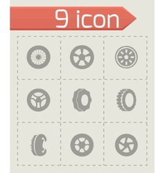 Tire icon set vector