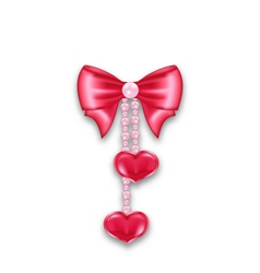 Pink gift bow ribbon with heart hanging on pearls vector image