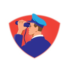 Navy captain looking binoculars shield retro vector