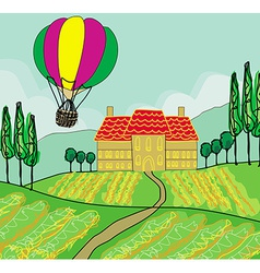 Fantasy landscape with hot air balloons vector