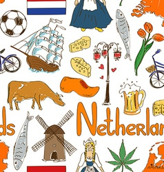 Sketch Netherlands seamless pattern vector image
