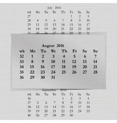 Calendar month for 2016 pages august start monday vector