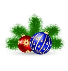 Christmas tree and ball vector