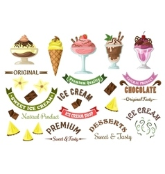 Ice cream icons with retro design elements vector