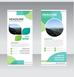 Eco business roll up banner flat design template vector