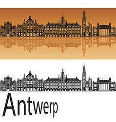 Antwerp skyline in orange vector