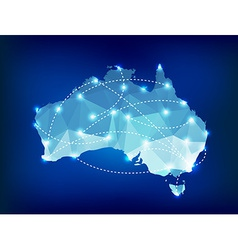 Australia country map polygonal with spot lights vector