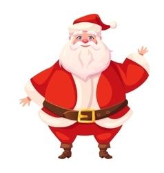 Colorful flat santa waving his hand vector image