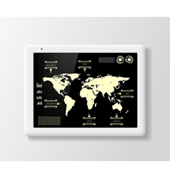digital tablet with infographics vector image vector image