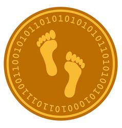 footprints digital coin vector image vector image