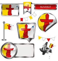 glossy icons with flag of province nunavut vector image