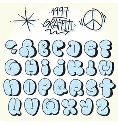 Graffiti bubble font vector image vector image