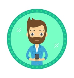 Hipster style man take a selfie in the mirror flat vector image vector image