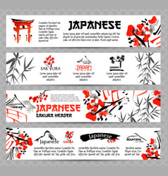 Horizontal website banners set with asia vector