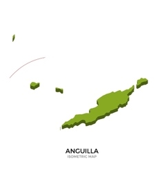 Isometric map of Anguilla detailed vector image