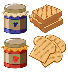 Jam and bread on white background vector