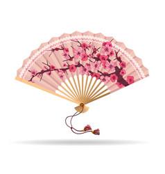 Japan cherry blossom folding fan vector