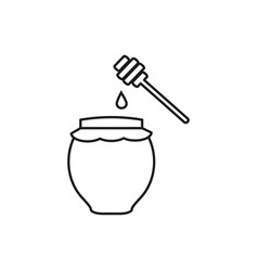 jar with honey icons vector image