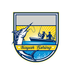 Kayak fishing blue marlin badge vector