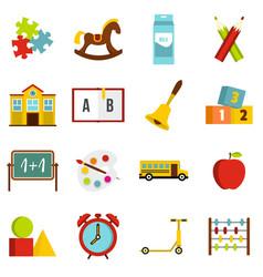 Kindergarten symbol icons set in flat style vector