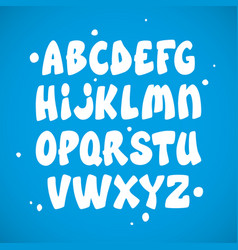 Liquid comic font with splashes alphabet vector