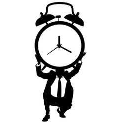 Man holding a big clock vector