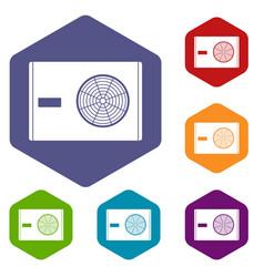 Outdoor compressor of air conditioner icons set vector