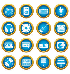 Recording studio items icons blue circle set vector