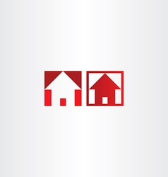 Red square icon house real estate vector