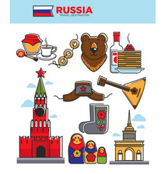 Russia travel tourist famous symbols or soviet vector