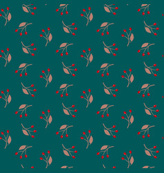 Seamless red berry pattern hand drawn whimsical vector