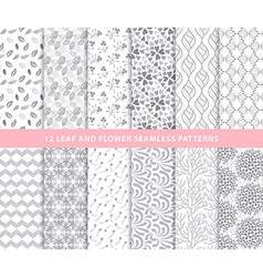 Set of leaf and flower seamless patterns vector image