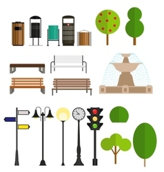 Street City Flat Design Elements vector image