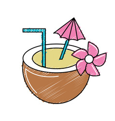 Tasty coconut water to refresh the day vector
