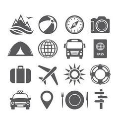 Tourism and travel icons vector image vector image