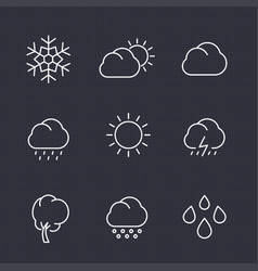 weather icons set in linear style vector image vector image